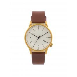 Unisex hodinky ve zlaté barvě s hnědým koženým páskem Komono Winston Regal