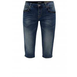 Modré dámské slim fit kraťasy s vyšisovaným efektem a nízkým pasem Garcia Jeans Rachelle