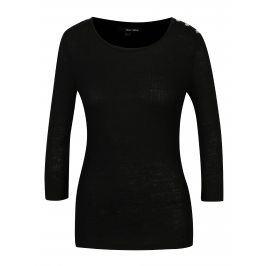 Černé žebrované tričko s patentkami na ramenou TALLY WEiJL