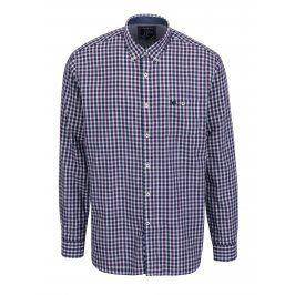 Bílo-fialová kostkovaná košile s náprsní kapsou Raging Bull