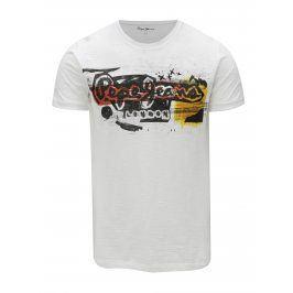 Bílé pánské tričko s potiskem Pepe Jeans Amersham