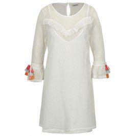 Krémové síťované šaty se střapci na rukávech Noisy May Laura
