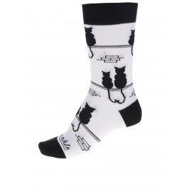 Černo-bílé unisex ponožky s motivem koček Fusakle Kocúr a mačka