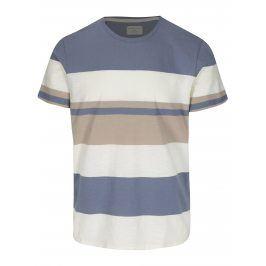 Krémovo-modré pruhované tričko Selected Homme New Rune