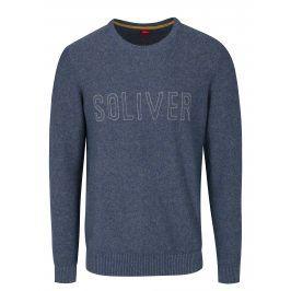 Modrý pánský žíhaný svetr s nápisem s.Oliver