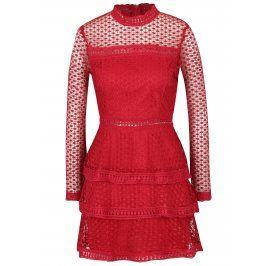 Červené šaty s volány a dlouhým rukávem AX Paris