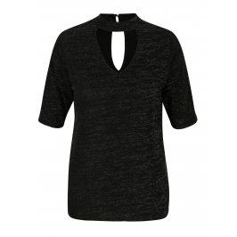Černý žíhaný top s průstřihy M&Co