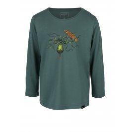 Zelené klučičí regular fit tričko s potiskem a dlouhým rukávem Quiksilver