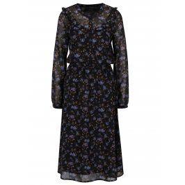 Fialovo-černé květované šaty s průsvitnými rukávy VERO MODA Rose