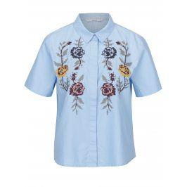 Modrá krátká košile s výšivkou květin ONLY Gala