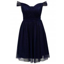 Tmavě modré tylové šaty s odhalenými rameny Dorothy Perkins