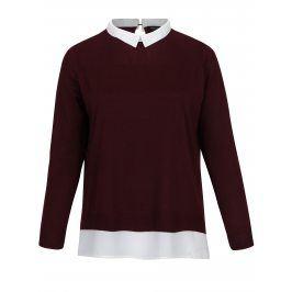 Vínový top s všitou košilí 2v1 Dorothy Perkins Curve