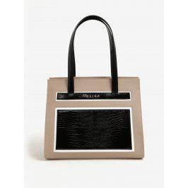 Černo-béžová kožená kabelka ELEGA Isabel