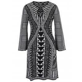 Černo-bílé vzorované šaty s dlouhým rukávem Desigual Hayley
