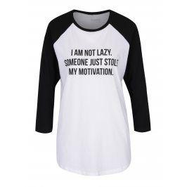 Černo-bílé unisex tričko s 3/4 rukávem ZOOT Originál I am not lazy