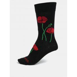 Černé unisex ponožky s motivem vlčího máku Fusakle Papaver
