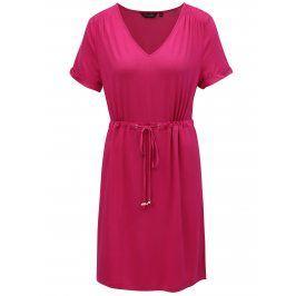 Tmavě růžové šaty se stahováním v pase Dorothy Perkins