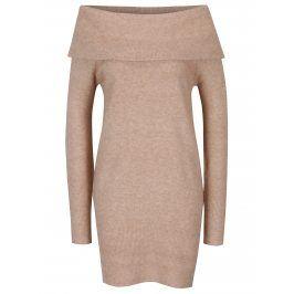 Béžové svetrové šaty s odhalenými rameny Dorothy Perkins