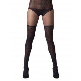 Černé punčochové kalhoty s vysokým pasem s krajkou Gipsy