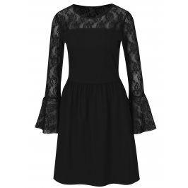 Černé šaty s dlouhým rukávem a krajkou ONLY Niella