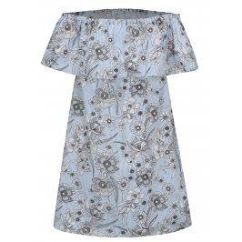 Bílo-modré květované šaty s odhalenými rameny Dorothy Perkins