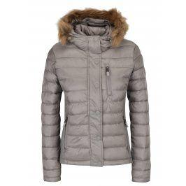 Šedá dámská prošívaná bunda s kapucí Superdry Luxe