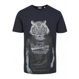 Tmavě modré tričko s potiskem ONLY & SONS Simon