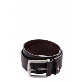 Tmavě hnědý pánský kožený pásek s přezkou Tommy Hilfiger