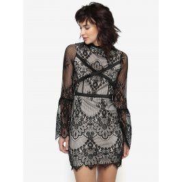 Černo-béžové krajkové šaty MISSGUIDED