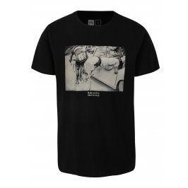 Černé tričko s potiskem Dedicated Ride to live