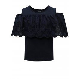 Tmavě modré holčičí tričko s průstřihem na ramenou name it Karmali