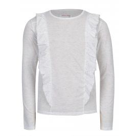 Bílé žíhané holčičí tričko s volány 5.10.15.