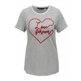 Bílé pruhované tričko s krátkým rukávem Dorothy Perkins