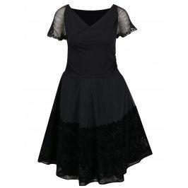 Černé šaty s překládaným výstřihem a krajkovými detaily Desigual Betty