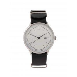 Unisex hodinky ve stříbrné barvě s černým koženým páskem CHPO Harold
