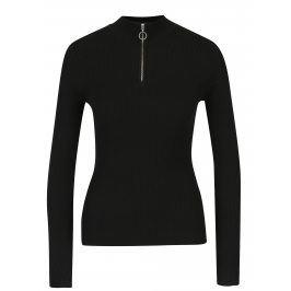 Černé žebrované tričko s dlouhým rukávem Miss Selfridge