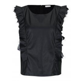 Černý koženkový top s volány VILA Lacan