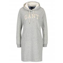 Světle šedé žíhané mikinové šaty s kapucí GANT