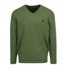 Zelený svetr s véčkovým výstřihem Raging Bull