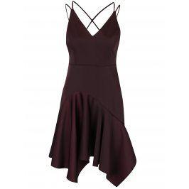 Hnědé asymetrické šaty se špagetovými ramínky Miss Selfridge