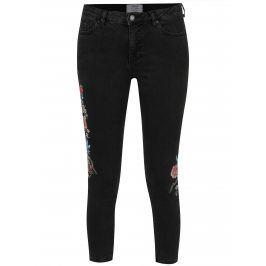 Tmavě šedé mom džíny s výšivkami Miss Selfridge Petites