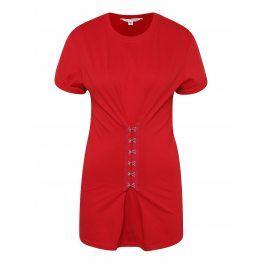Červené tričko s ozdobnými háčky Miss Selfridge
