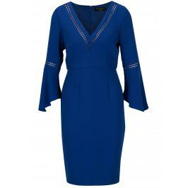 Modré pouzdrové šaty se zvonovými rukávy Paper Dolls
