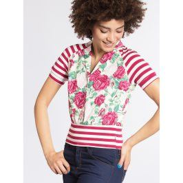 Krémovo-růžové tričko se vzorem pruhů a květů Blutsgeschwister