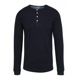 Tmavě modré tričko s knoflíky a dlouhým rukávem Lindbergh