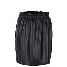 Černá koženková sukně s řasením Jacqueline de Yong Fix