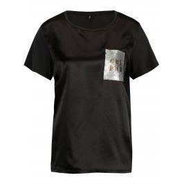 Černé lesklé tričko s flitrovou výšivkou ONLY Sally