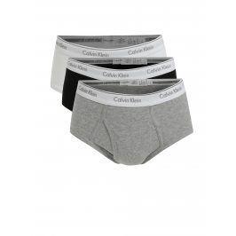 Sada tří classic fit slipů v šedé, černé a bílé barvě Calvin Klein