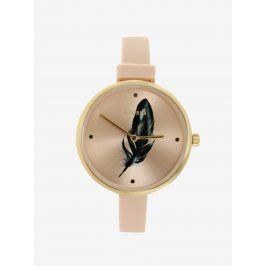 Pozlacené hodinky se silikonovým páskem Pilgrim