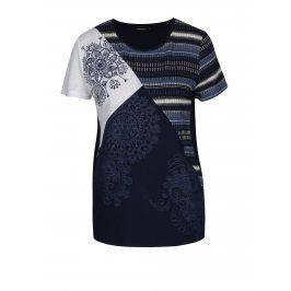 Modré vzorované tričko s příměsí lnu Desigual Bemus